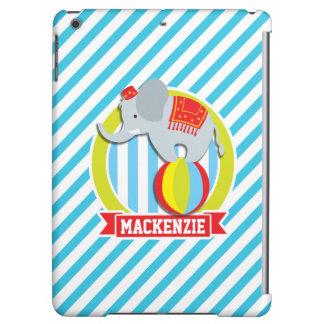 Circus Elephant on Ball; Baby Blue & White Stripes