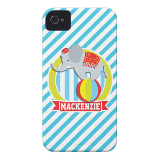 Circus Elephant on Ball; Baby Blue & White Stripes iPhone4 Case