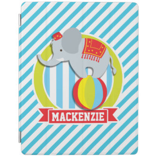 Circus Elephant on Ball; Baby Blue & White Stripes iPad Cover