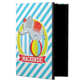Circus Elephant on Ball; Baby Blue & White Stripes iPad Air Cases