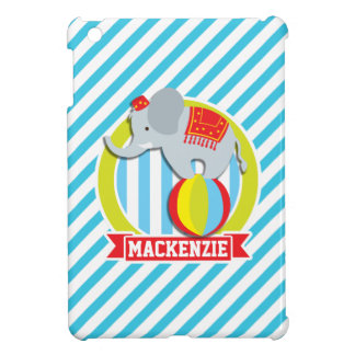 Circus Elephant on Ball; Baby Blue & White Stripes Case For The iPad Mini