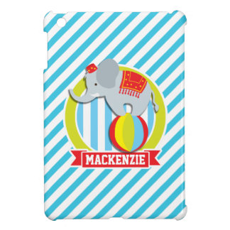 Circus Elephant on Ball; Baby Blue & White Stripes iPad Mini Cover