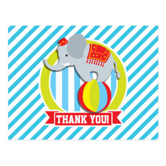 Circus Elephant on Ball; Baby Blue & White Stripes Post Card
