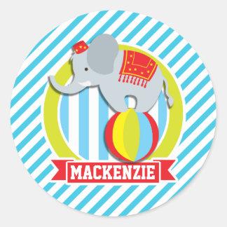 Circus Elephant on Ball; Baby Blue & White Stripes Round Sticker
