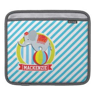 Circus Elephant on Ball; Baby Blue & White Stripes Sleeves For iPads