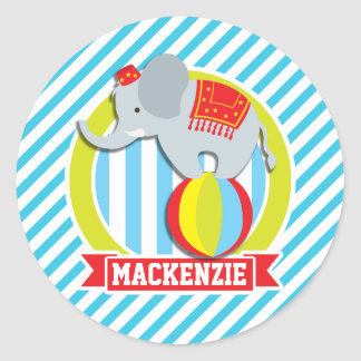 Circus Elephant on Ball; Baby Blue & White Stripes Sticker