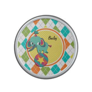 Circus Elephant on Colorful Argyle Pattern Bluetooth Speaker