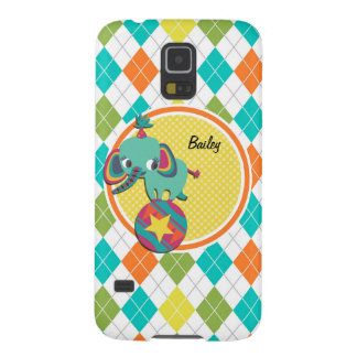 Circus Elephant on Colorful Argyle Pattern Case For Galaxy S5