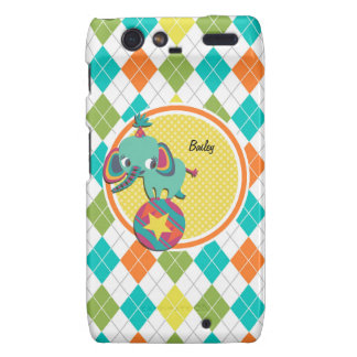 Circus Elephant on Colorful Argyle Pattern Droid RAZR Covers