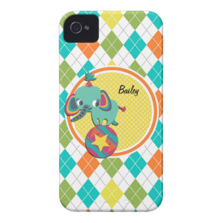 Circus Elephant on Colorful Argyle Pattern iPhone 4 Case-Mate Case