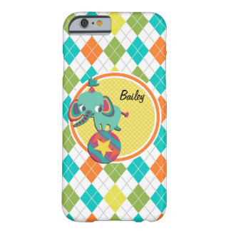 Circus Elephant on Colorful Argyle Pattern Barely There iPhone 6 Case