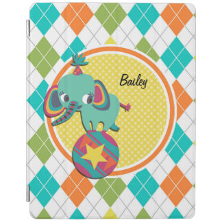 Circus Elephant on Colorful Argyle Pattern iPad Cover
