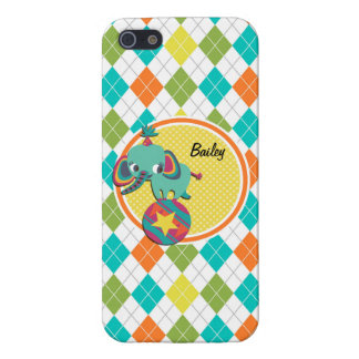 Circus Elephant on Colorful Argyle Pattern Case For iPhone 5/5S
