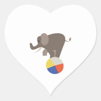 Circus Elephant Heart Sticker