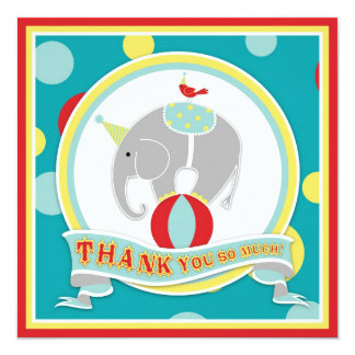 Circus Elephant Thank You Blue Card