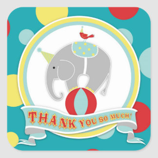 Circus Elephant Thank You Label Square Sticker