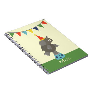 Circus Elephant With Orange Hat Spiral Notebook