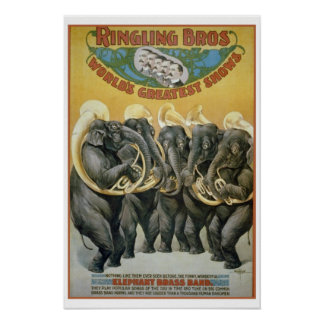 Circus Elephants Brass Band Poster