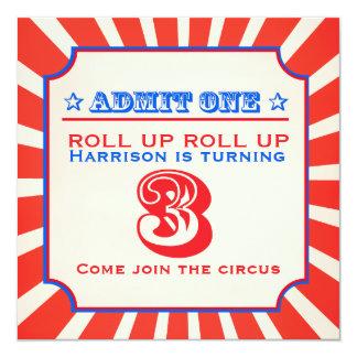 Circus fun fair 3rd birthday invitation