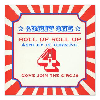 Circus fun fair 4th birthday invitation