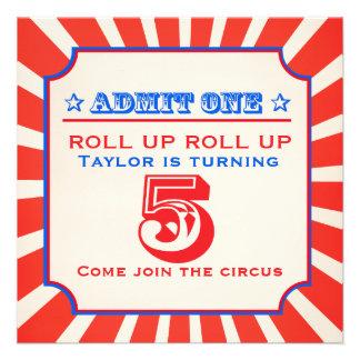 Circus fun fair 5th birthday invitation