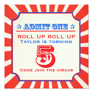 Circus fun fair 5th birthday invitation