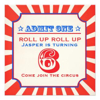 Circus fun fair 6th birthday party invitation