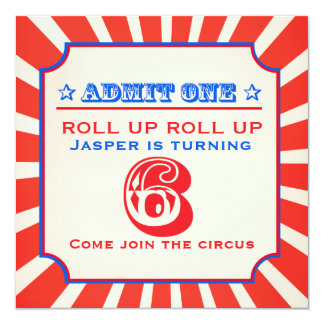 Circus fun fair 6th birthday party invitation