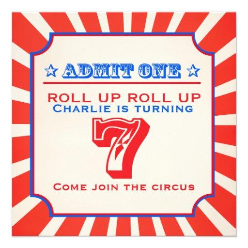 Circus fun fair 7th kids birthday party invitation