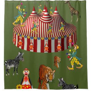 Circus green red white children's shower curtain