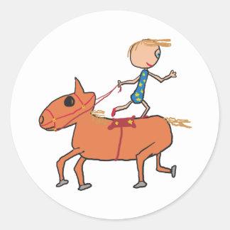 Circus Horse Riding Classic Round Sticker
