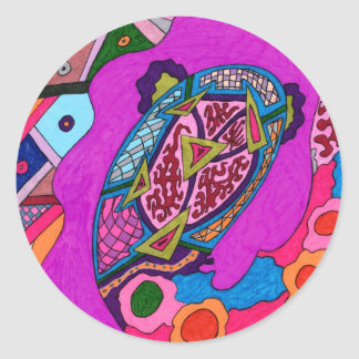 """""""Circus Lion"""" Abstract Round Sticker"""