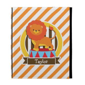 Circus Lion; Orange & White Stripes iPad Folio Case
