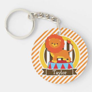 Circus Lion; Orange & White Stripes Double-Sided Round Acrylic Key Ring