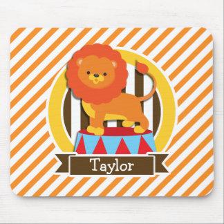 Circus Lion; Orange & White Stripes Mousepads