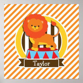 Circus Lion; Orange & White Stripes Poster