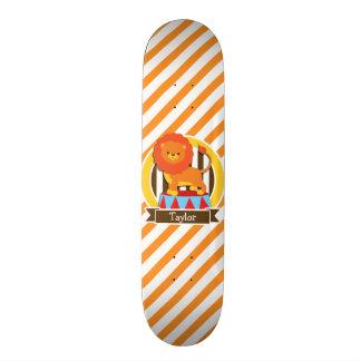 Circus Lion; Orange & White Stripes Skateboard Decks