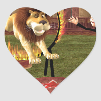 Circus Lion Ring Jump Heart Sticker