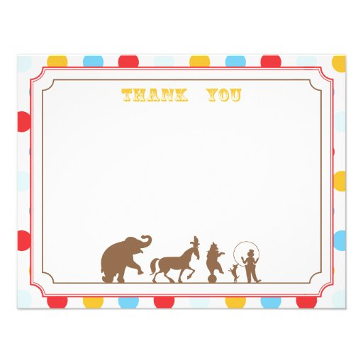 Circus Party Flat Thank You Note Custom Invitation