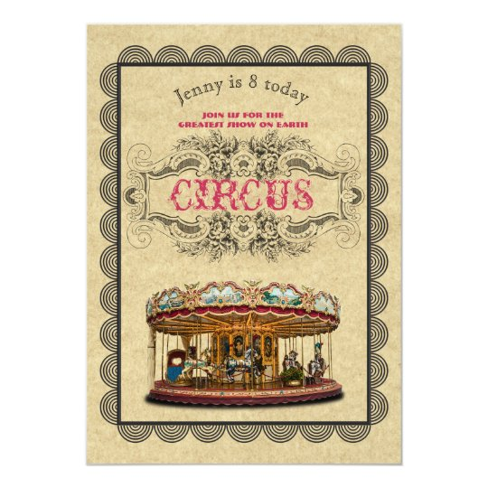 CIRCUS Party Invitation Elegant Vintage Theme