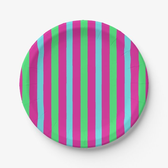 Circus party stripes 7 inch paper plate