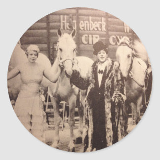 Circus Performers and White Horses Round Sticker