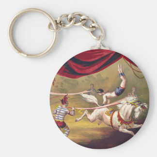 Circus poster showing acrobat performing on horse basic round button key ring
