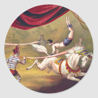 Circus poster showing acrobat performing on horse classic round sticker