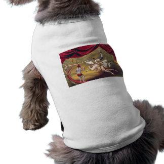 Circus poster showing acrobat performing on horse sleeveless dog shirt