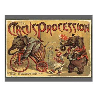 Circus Procession, 1888, vintage Postcard