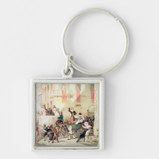 Circus Procession in Italy, 1830 Silver-Colored Square Key Ring