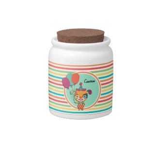 Circus Puppy; Bright Rainbow Stripes Candy Dish