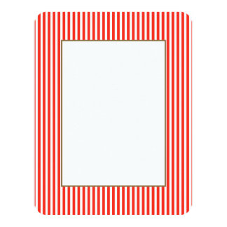 Circus Red and White Cabana Stripes 11 Cm X 14 Cm Invitation Card