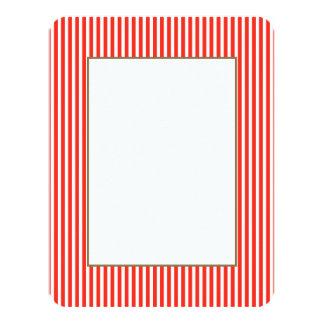 Circus Red and White Cabana Stripes 11 Cm X 14 Cm Invitation Card